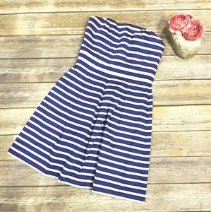 GAP BLUE & WHITE STRIPED STRAPLESS DRESS 6